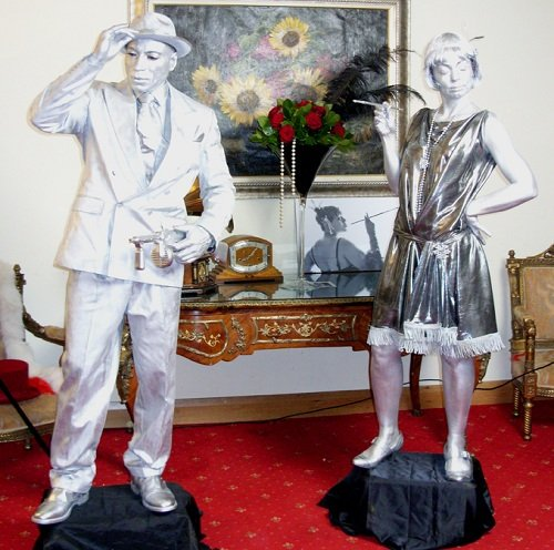 1920's Silver Male Female Statues
